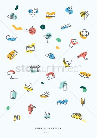 Photography : Collection of summer vacation icons