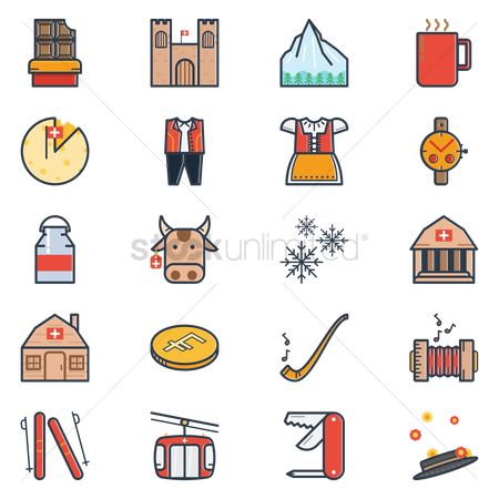 Ski : Collection of switzerland icons