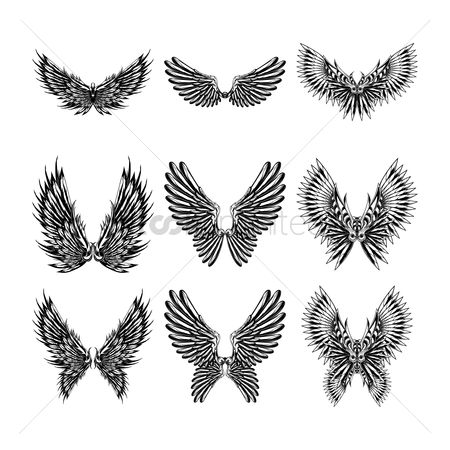 Ornament : Collection of tattoo wings