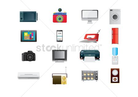 Washing machine : Collection of technology icons