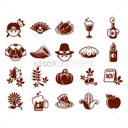Beer mug : Collection of thanksgiving icons