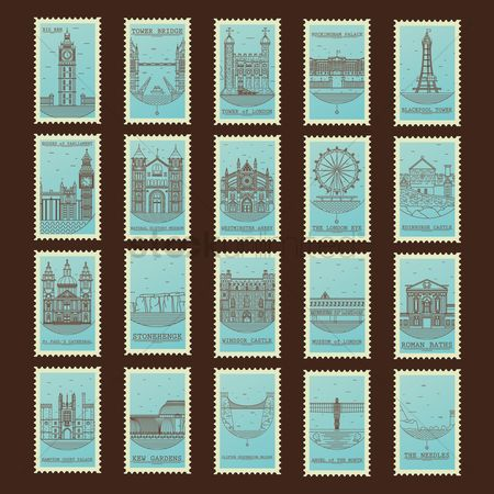 Borders : Collection of united kingdom landmarks postage stamps