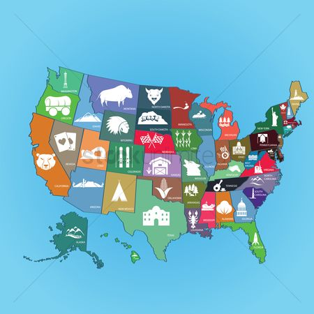 America : Collection of us state maps