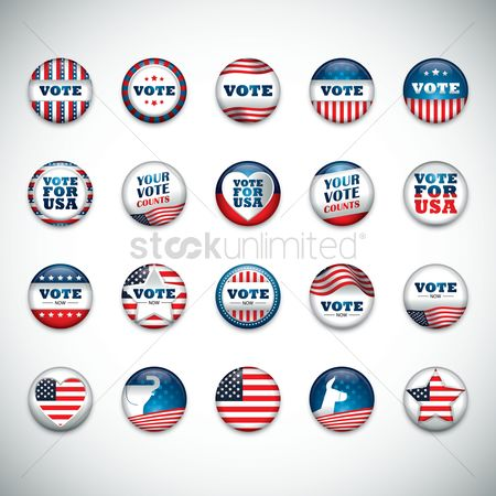 Votes : Collection of usa button badge