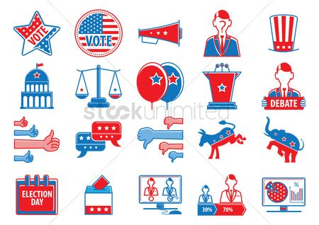 Party : Collection of usa election icons