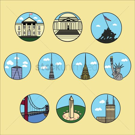 White house : Collection of usa landmark icons