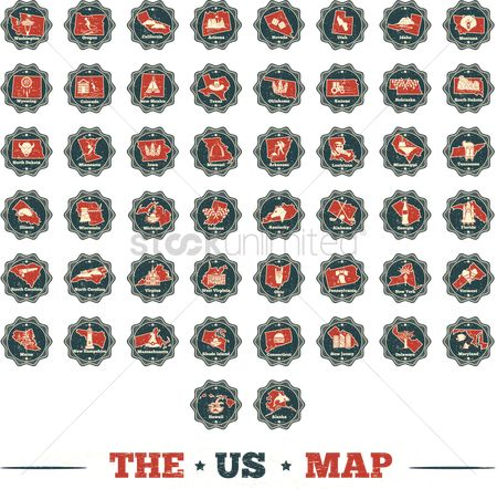 Buildings : Collection of usa map labels