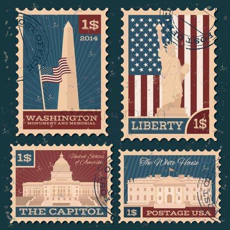 America : Collection of usa monuments postal stamps