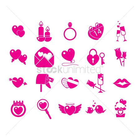 Champagnes : Collection of valentine s day icons