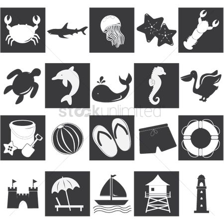 Starfishes : Collection of various beach silhouettes
