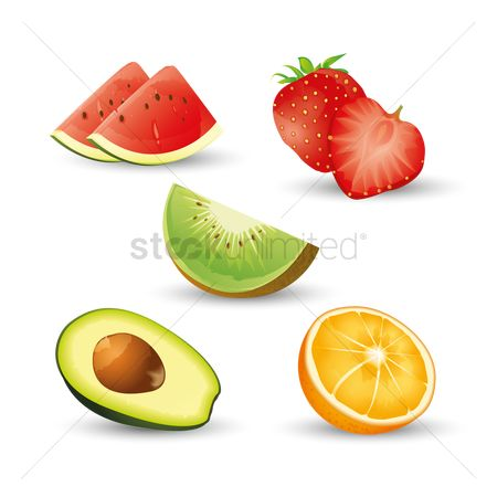 Watermelon : Collection of various fruit slices