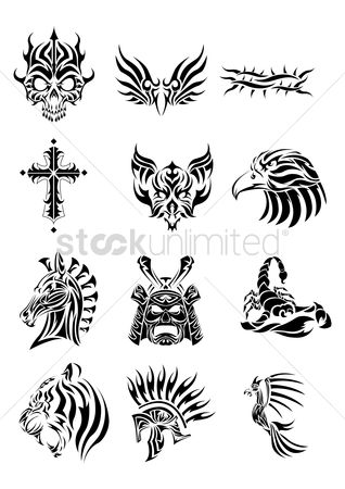 Hawks : Collection of various tribal tattoos