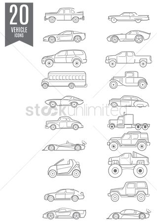 Lorries : Collection of vehicles icons