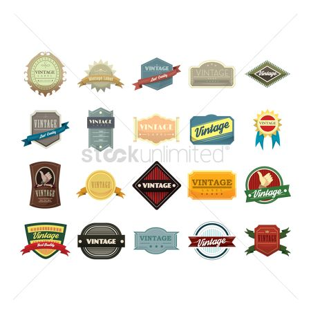 Badge : Collection of vintage icons