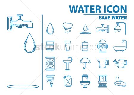 Washing machine : Collection of water icons