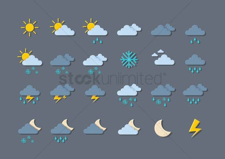 Temperatures : Collection of weather icons