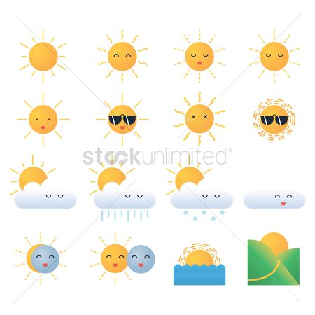 Happy summer : Collection of weather icons