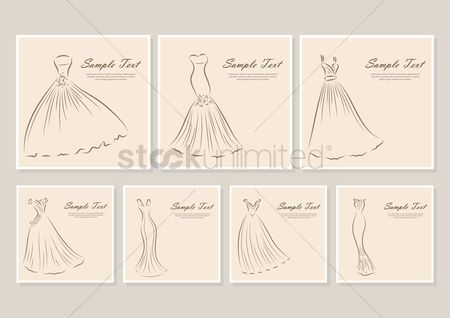 Clothings : Collection of wedding dress backgrounds