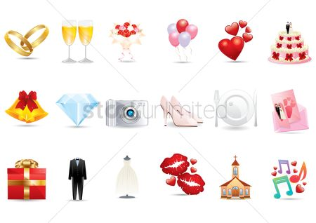 Photography : Collection of wedding related icons