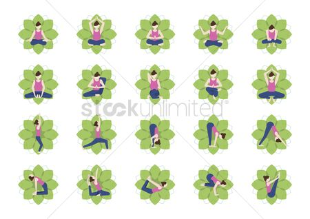 Royal : Collection of women practicing yoga