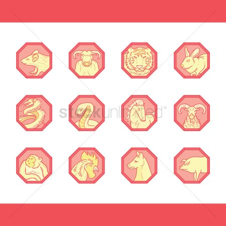 Wooden sign : Collecton of chinese zodiac signs