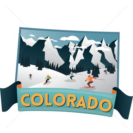 Skiing : Colorado state map