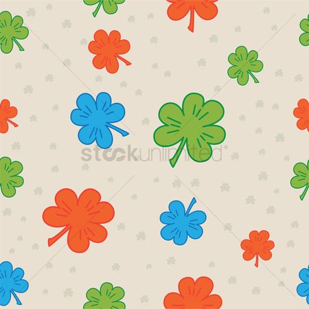 Shamrocks : Colorful clover leaves seamless pattern