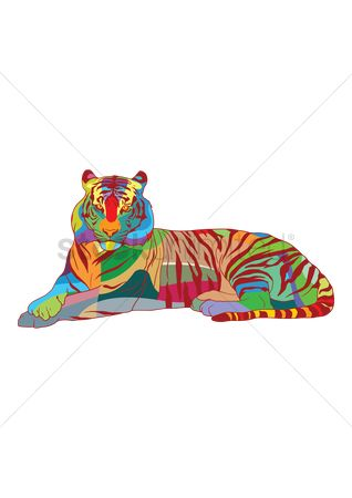 Asia : Colorful tiger