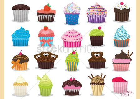 Teddybear : Colourful cupcakes