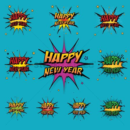 Resolutions : Comic style happy new year collection