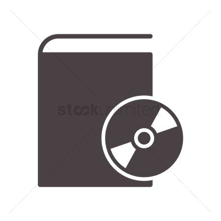 Audio book : Compact disk on book icon
