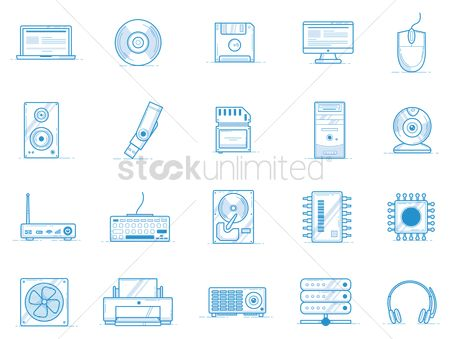 Chips : Computer devices icon set