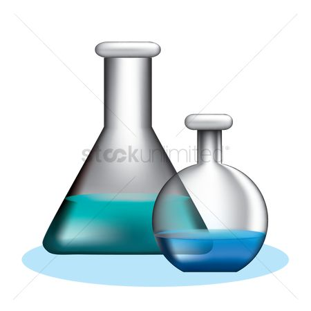 Chemicals : Conical flask and florence flask