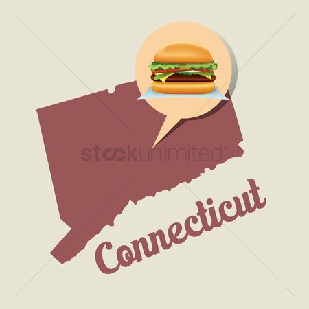 Connecticut : Connecticut map with burger icon