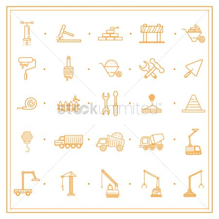 Machineries : Construction icon set