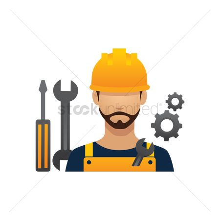 Builder : Construction worker and tools