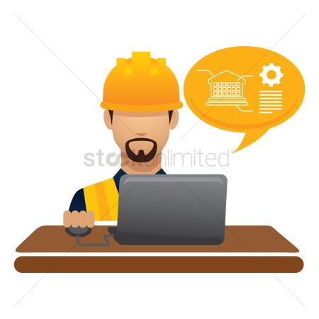 Builder : Construction worker on laptop