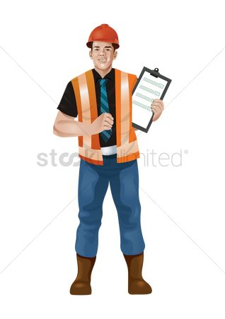 Workers : Construction worker with data in hand
