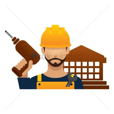 Builder : Construction worker with hand drill machine