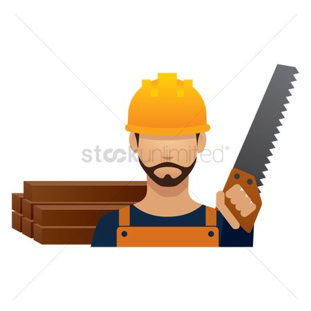Builder : Construction worker with hand saw
