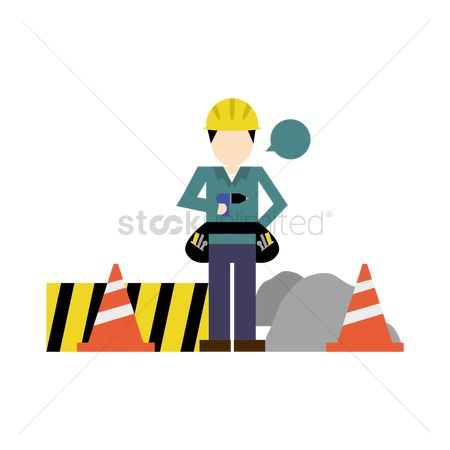 Barrier : Construction worker with traffic cone and road barrier