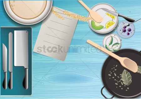 Plates : Cooking flat lay design