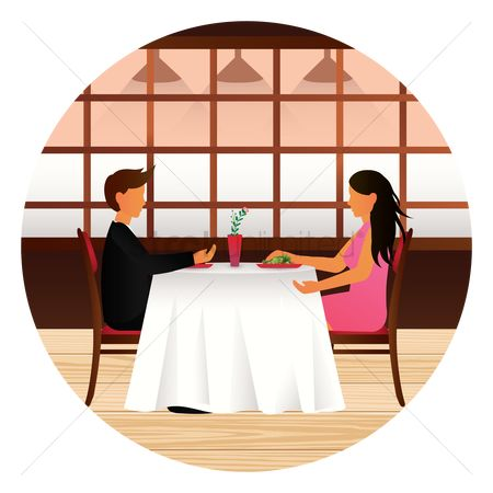 Dine : Couple dining together in a restaurant