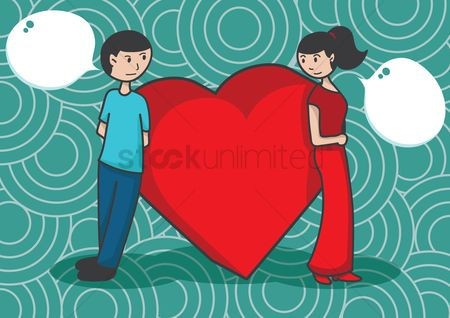 Love speech bubble : Couple standing with heart