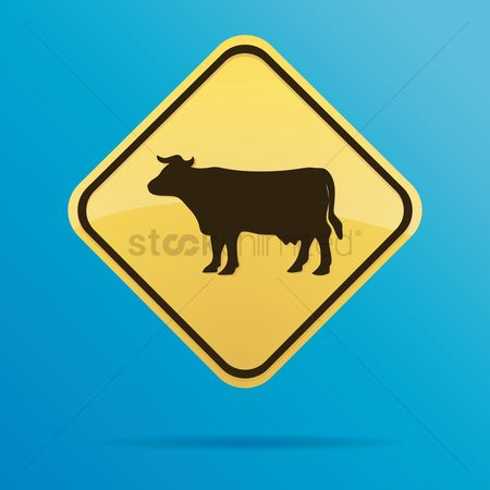 Roadsigns : Cow crossing ahead sign