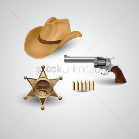 Badge : Cowboy hat with revolver and sheriff badge