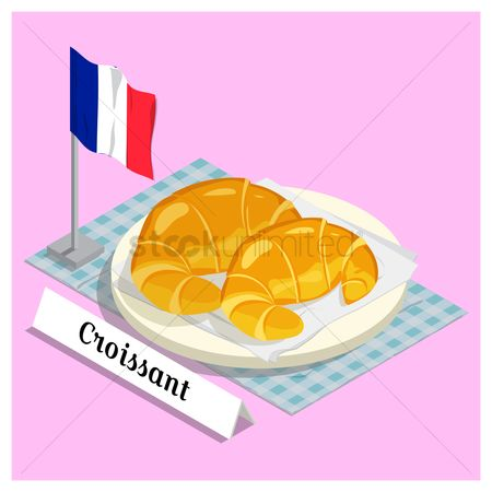 Croissants : Croissant with france flag