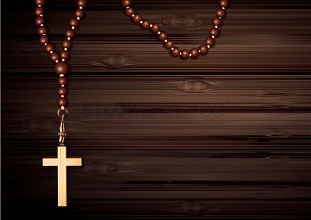 Wooden sign : Cross pendant with prayer beads necklace poster