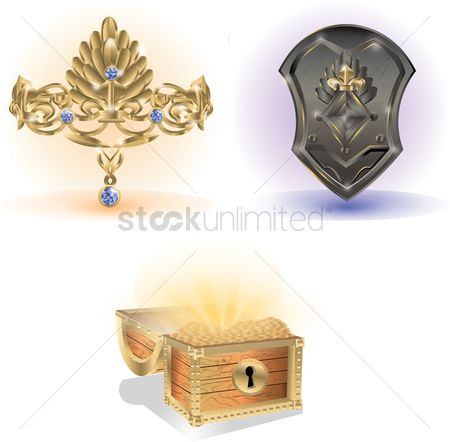 Coins : Crown with shield and treasure chest