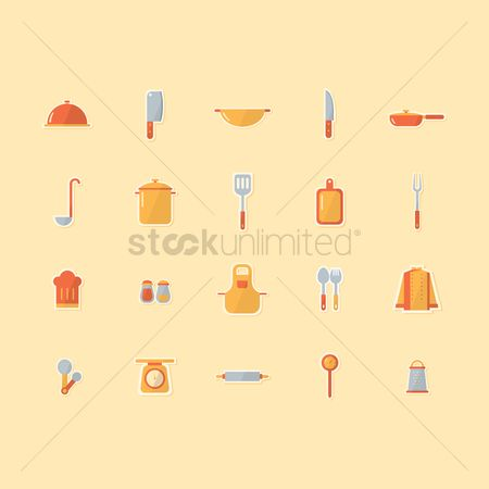 Servings : Culinary and kitchen utensils icons